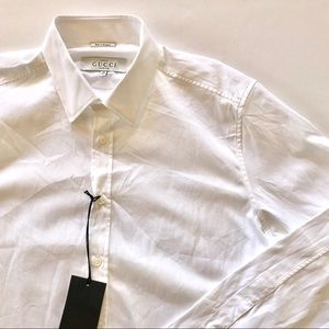 Mens Gucci White Button Up Collar Shirt